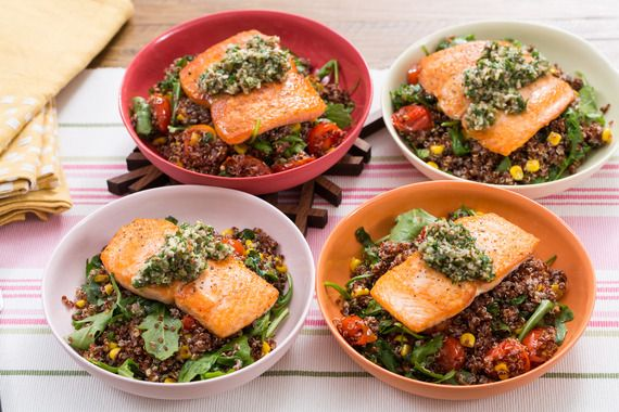 Seared Salmon dinner photo via Blue Apron